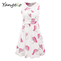 2017 Summer Women Dress Cute Unicorn Printing Sleeveless A Line Dress Kawaii Dress For Female Mandarin