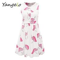 2017 Summer Women Dress Cute Unicorn Printing Sleeveless A Line Dress Kawaii Dress For Female Mandarin