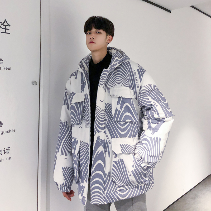 Oversize Thick Work Clothes Winter Loose Coat Teenager Student Jacket Men Warm Parka Windproof Outwear Youth Streetwear Hip Hop
