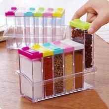 Transparent Gewürzglas Bunte Deckel Gewürz Box 6 teile/satz Küche Werkzeuge Salz Gewürz Menage aufbewahrungsbox Behälter AU485