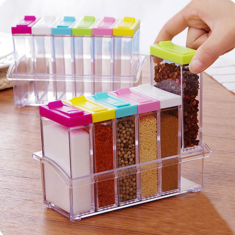 Transparent Spice Jar Colorful Lid Seasoning Box 6pcs/set Kitchen Tools Salt Condiment Cruet Storage box Containers AU485