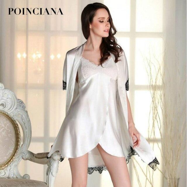 Wanita Berpakaian Gaun untuk Rumah Baju Tidur Jubah Set Renda Sabuk Di Atas  Lutut Cocok untuk 3c9dbca835
