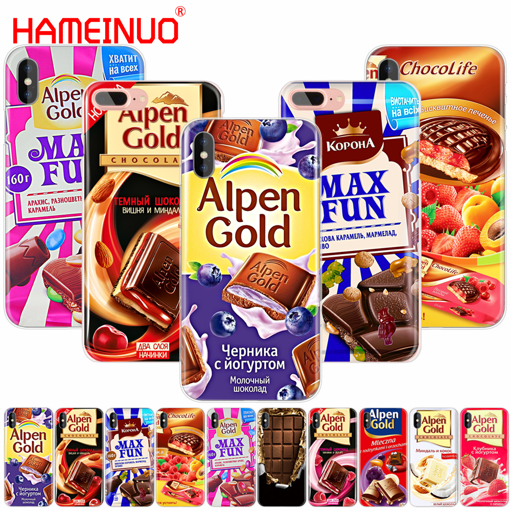 Galleria fotografica HAMEINUO chocolate food package russian cell phone Cover case for iphone 6 4 4s 5 5s SE 5c 6 6s 7 plus case for iphone X 8