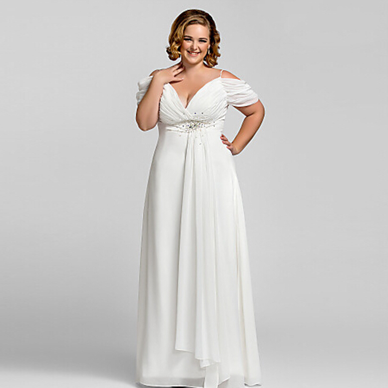 New Plus size White Chiffon V Neck Evening Dress 2016 Vestidos de noiva Crystal Spaghetti Strap Long Backless Formal Dresses (China)