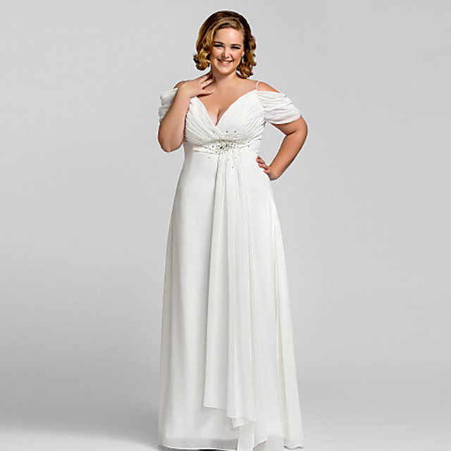 US $90.44 24% OFF|New Plus size White Chiffon V Neck Evening Dress 2016  Vestidos de noiva Crystal Spaghetti Strap Long Backless Formal Dresses -in  ...