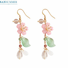 Earrings For Women Girls Pink Flowers Leaves Peal Drop Brincos Pendantes Femmes Jewelry Exaggerated Long Dangle