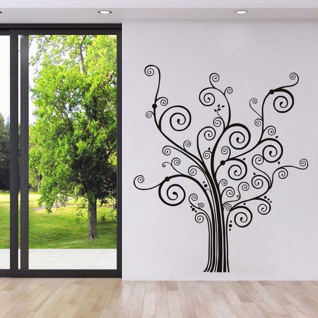 Swirl Branched Tree Wall Stickers For Kids Rooms Waterproof PVC Removable Wallpaper Decals Posters Wall Art & Swirl Branched Tree Wall Stickers For Kids Rooms Waterproof PVC ...