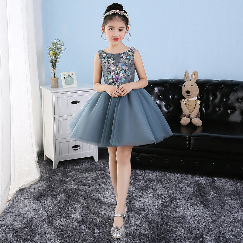 Elegant Princess Lace Embroidery Floral Sleeveless Girls Dress Summer 2017 Knee Length Prom Party Wedding Flower Girls Dress P30