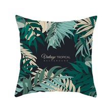 Vintage Tropical Background Pattern Green Leaf Printed Pillow Case Polyester Sofa Car Cushion Cover Summer time Home Decorative