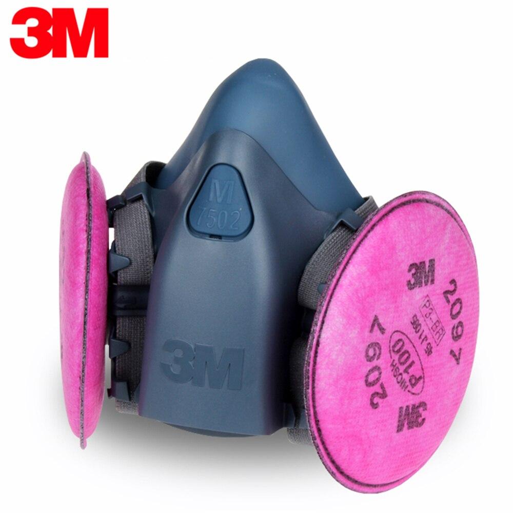 3 M 7502 + 2097 Demi-Masque Masque Réutilisable Respirateur P100 Respiratoire Protection Nuisibles De Vapeurs Organiques Secours LT025