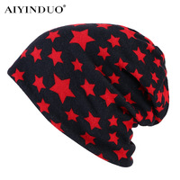 AIYINDUO Fashion Simple Cap Brand 2017 Star Pattern Winter Hats For Men Women Warm Knitted Hat