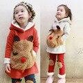 Novos Conjuntos de Roupas de Inverno Quente Roupas de Menina das Crianças Engrossar Camisola de Lã Leggings Conjunto Terno Panda Dos Desenhos Animados Crianças Casaco Pnats