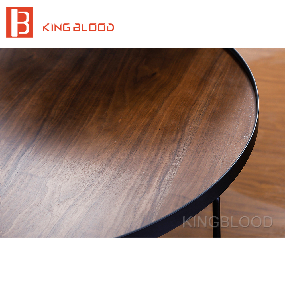 Walnut Wood Veneer coffee table movieable dining