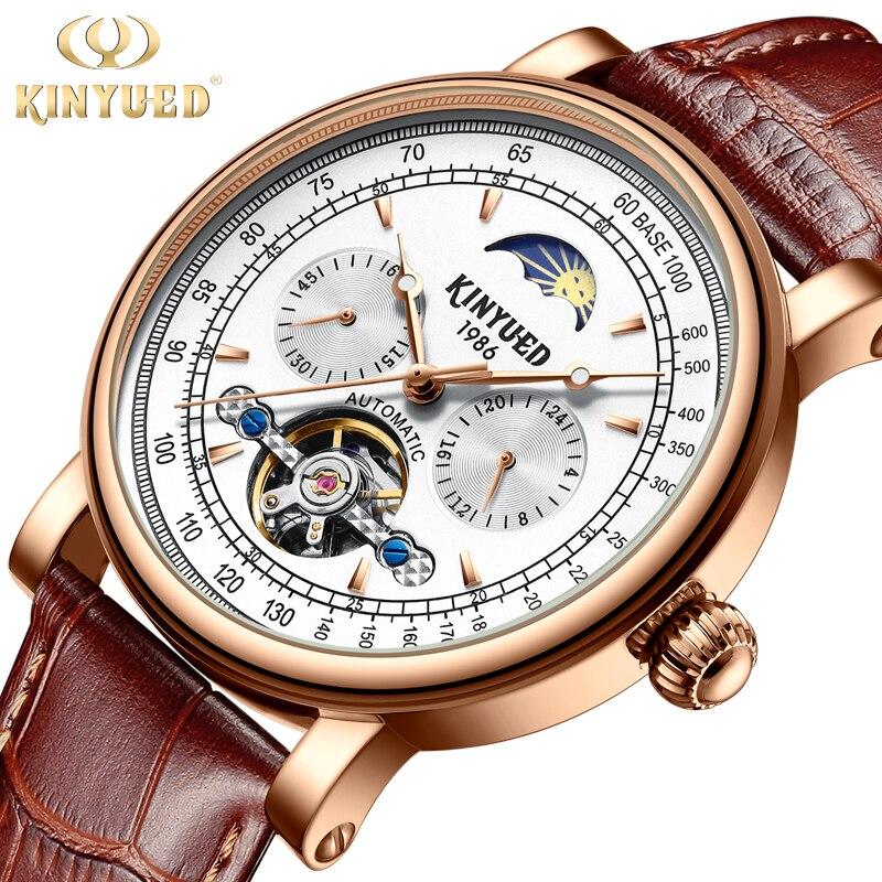 купить KINYUED Fashion Brand Mechanical Mens Watches Luxury Tourbillon Watch Men Automatic Leather Luminous Moon Phase montre homme по цене 2494.15 рублей