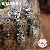 BALMORA 100 Real 925 Sterling Silver Jewelry Malachite Retro Phoenix Peony Earrings For Women Lover Gifts