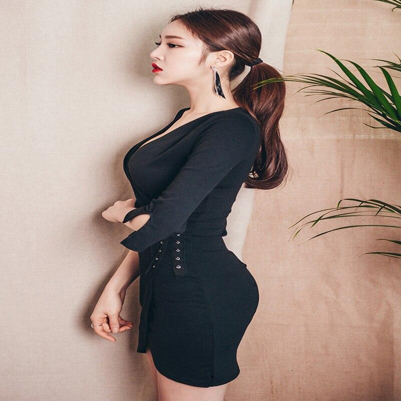 Vestido elegante y sexy para mujer, con cuello en V, ceñido a la cadera, vestido irregular de una pieza para mujer - 3