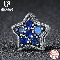 Bisaer 925 فضة ستار رغبة ميض الأزرق كريستال تشيكوسلوفاكيا الخرز صالح الأصلي عموم سحر diy مجوهرات GYC141