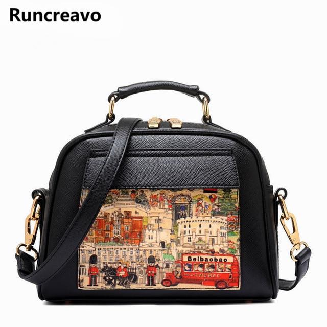 Women Bag Handbag PU Leather Women Leather Handbag Casual Oil Picture Pattern Women Shoulder Bag Fashion Female Tote bolsas