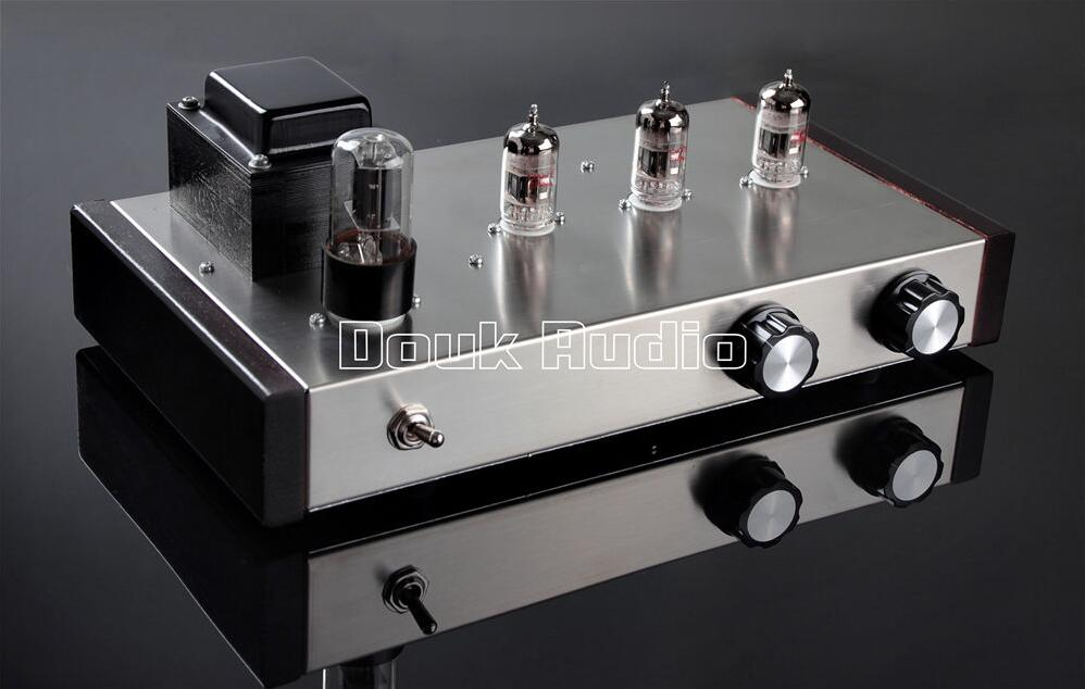Douk Audio Latest 12AX7 Vacuum Tube Pre-Amplifier HiFi Stereo Valve Tube Amplifier / Audio Processor Pure Handmade 1pcs high quality little bear p5 stereo vacuum tube preamplifier audio hifi buffer pre amp diy new
