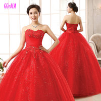 Vestido Novia Junoesque Plus Size Red Wedding Dresses Long 2018 Wedding Gowns Lady Tulle Appliques Ball