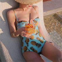 BFUSTYLE Women One Piece Sexy Pineapple Print Maillot Bikini Swimsuit Swimwear Yellow Bather Suit Beachwear