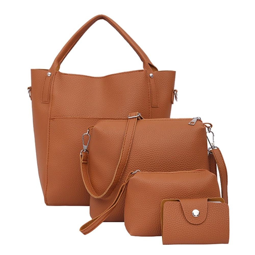 4pcs/set Women PU Leather Handbag Crossbody Bag Clutch Bag Card Holder New Autumn Solid  mochila feminina Fashion Shoulder Bag