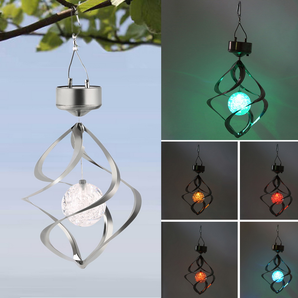 Color Changing Solar Powered LED Wind Chimes Wind Spinner Outdoor Hanging Spiral Garden Light Courtyard Decoration solar color changing led hanging wind spinner lamp for courtyard