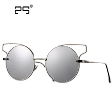 COLECAO Mirrored Cat eye Sunglasses Women 2017 New Fashion Women's Glasses Round lenses Points Gold frame Sunglass Female Shadow