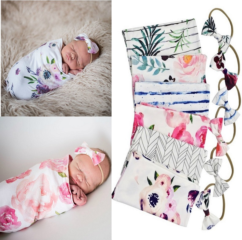 Soft Stretchable Baby Sleeping Bag Sack Newborn Photography Props Newborn Swaddle Blanket With Matching Bow Headband