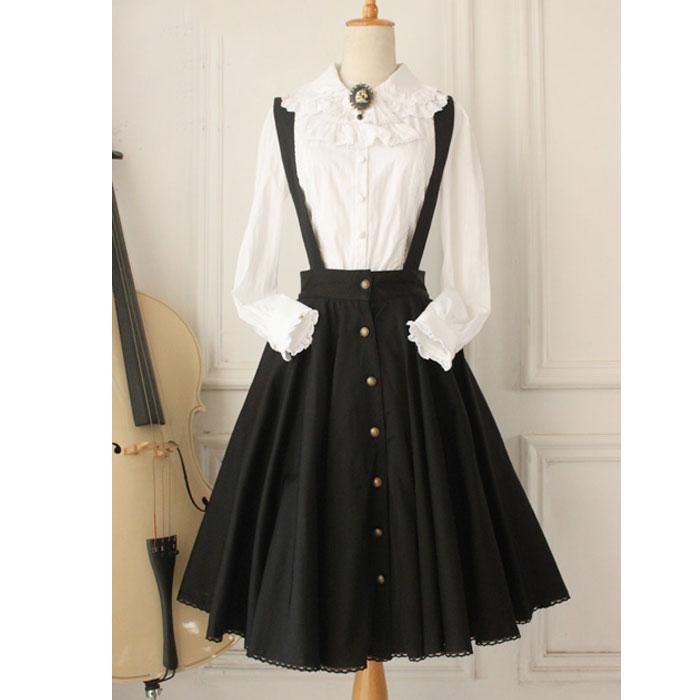 Custom Tailored ~ Vintage Women's Jumper Skirt Gothic A Line Skater Skirt Plus Size Button Down Midi Skirt