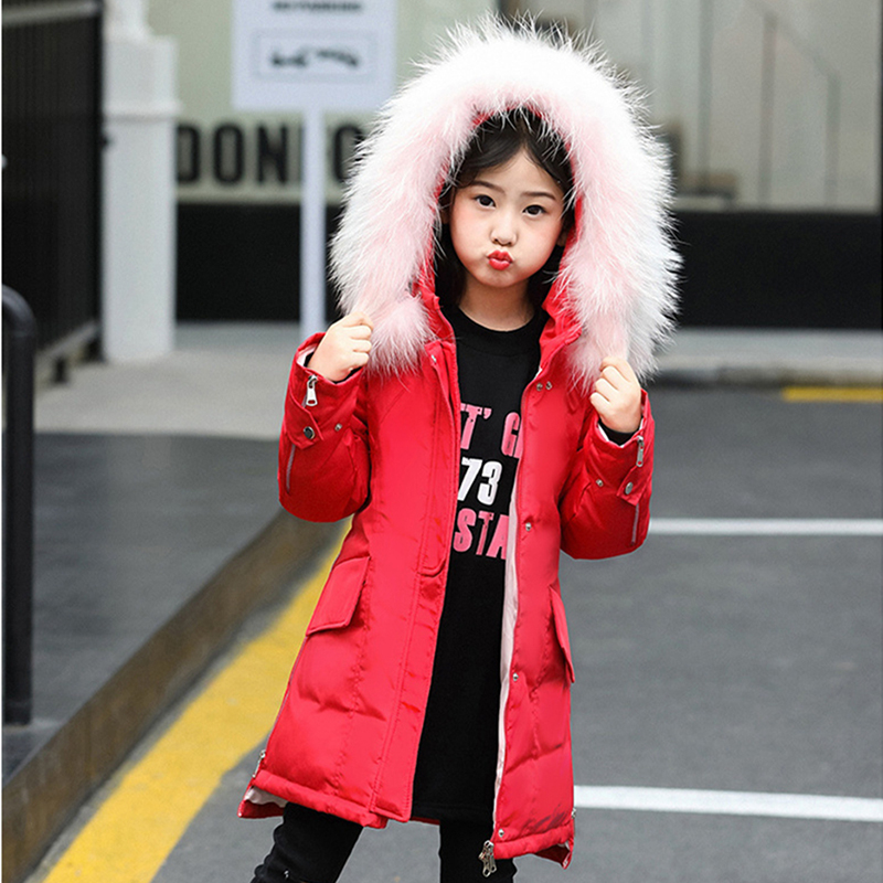 Teenage Winter Down Jackets for Girl 2018 Fashion Cold Clothes Raccoon Real Fur Children Coats Warm Thick Kids Parka Outerwear free shipping 2017 new polyester winter jackets and coats thick warm fashion casual handsome young men parka fit snow cold