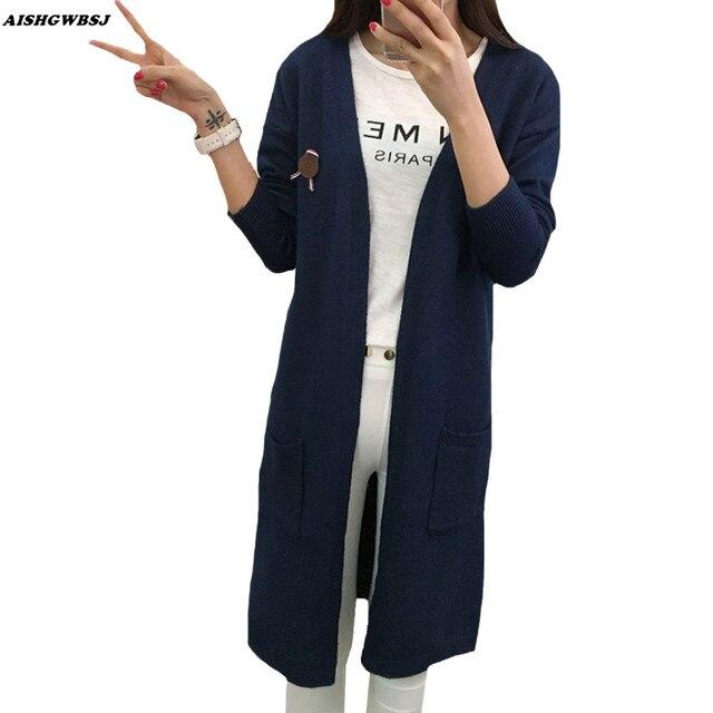 2017 Новых Осенью Длинным Рукавом Кардиганы Женщины Cardigans Пальто Повседневная Мода Длинный Кардиган Свитер Женщин Кардиган Для Дам QYX154
