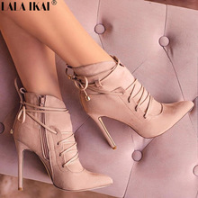 LALA IKAI Women Boots High Heels Pointed Toe Cross-Tied Boots Woman Shoes Autumn INS Fashion Botas Mujer XWC0883-5