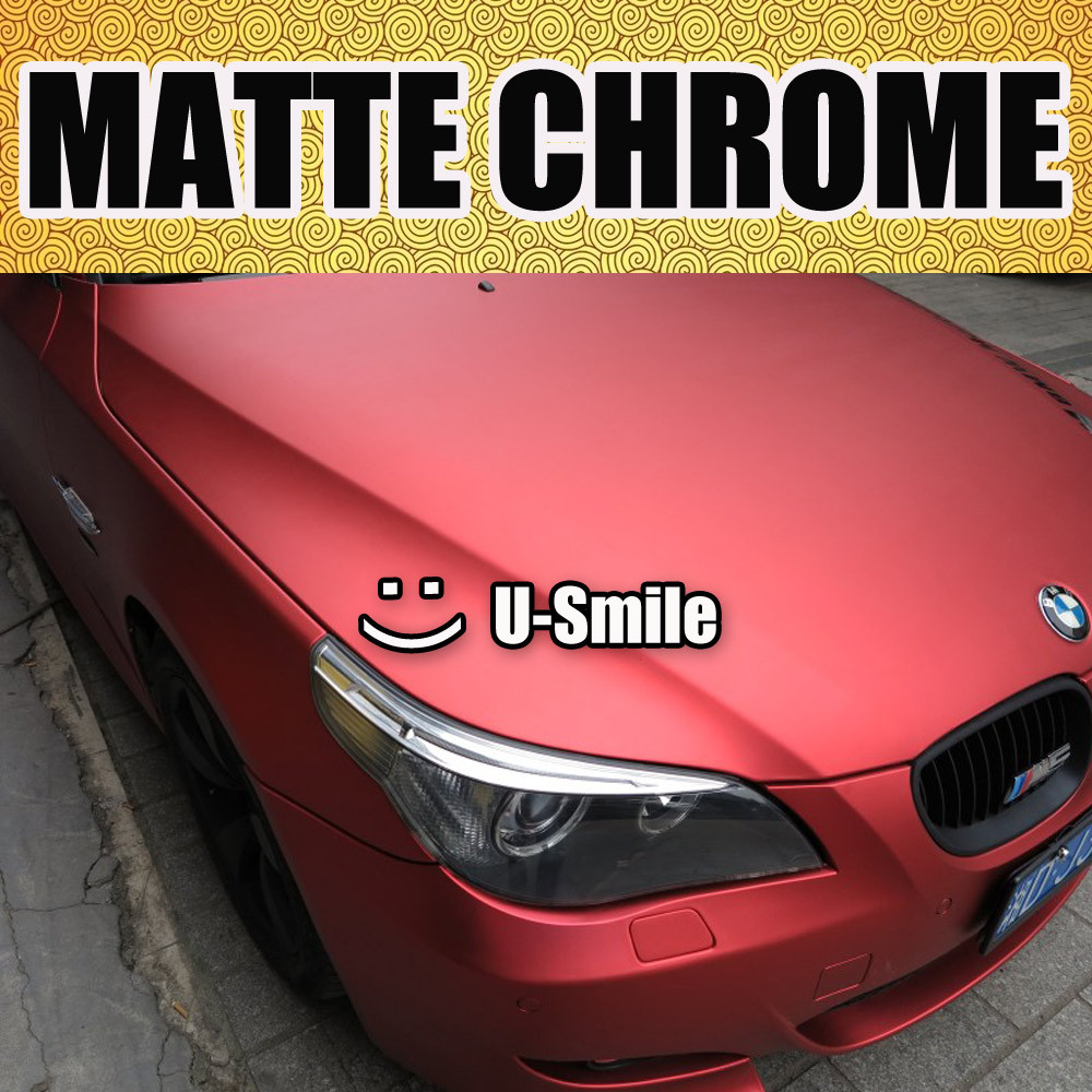 High Flexibility Red Matte Chrome Wrap Red Matte Chrome Film Matte Chrome Red Vinyl Air Free Car Decals Size:1.52M x 20M