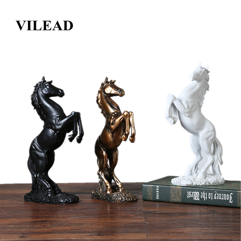VILEAD 12.4'' Resin Horse Statue Living Room Crafts Decorative Ornaments Creative Home Horse To Successful Opening Lucky Gifts|Statues & Sculptures| |  - title=