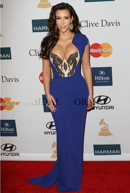 74fd297671 2014 Royal Blue Clive Davis Annual Pre Grammy Cerebrity Kim Kardashian Dress