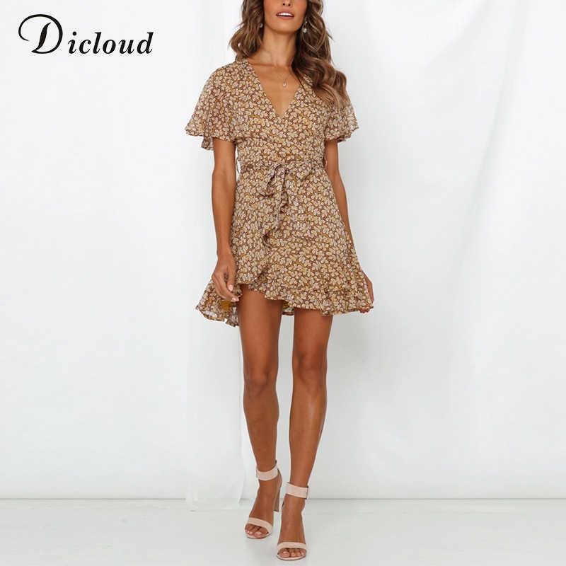 DICLOUD/желтое Сексуальное Платье с v-образным вырезом и оборками, женское летнее шифоновое пляжное платье с коротким рукавом, элегантное платье с цветочным принтом в стиле бохо