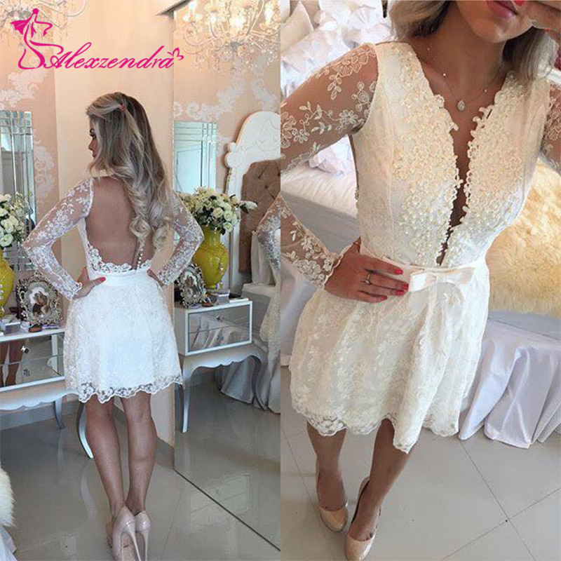 Alexzendra Mini Short Lace   Prom     Dresses   2019 Long Sleeves Pearls Party   Dress   Plus Size Custom Made