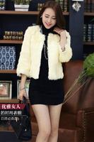 2018 New Winter Clothing Integral Skin Short Sleeve Seven Rabbit Fur Coat T Shirt Size
