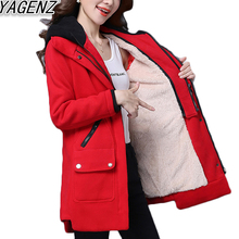YAGENZ 2017 Fashion Women Plus Lambswool Jacket Female Solid color Cotton Coat Women Casual Hooded Cotton Overcoat plus size 3XL