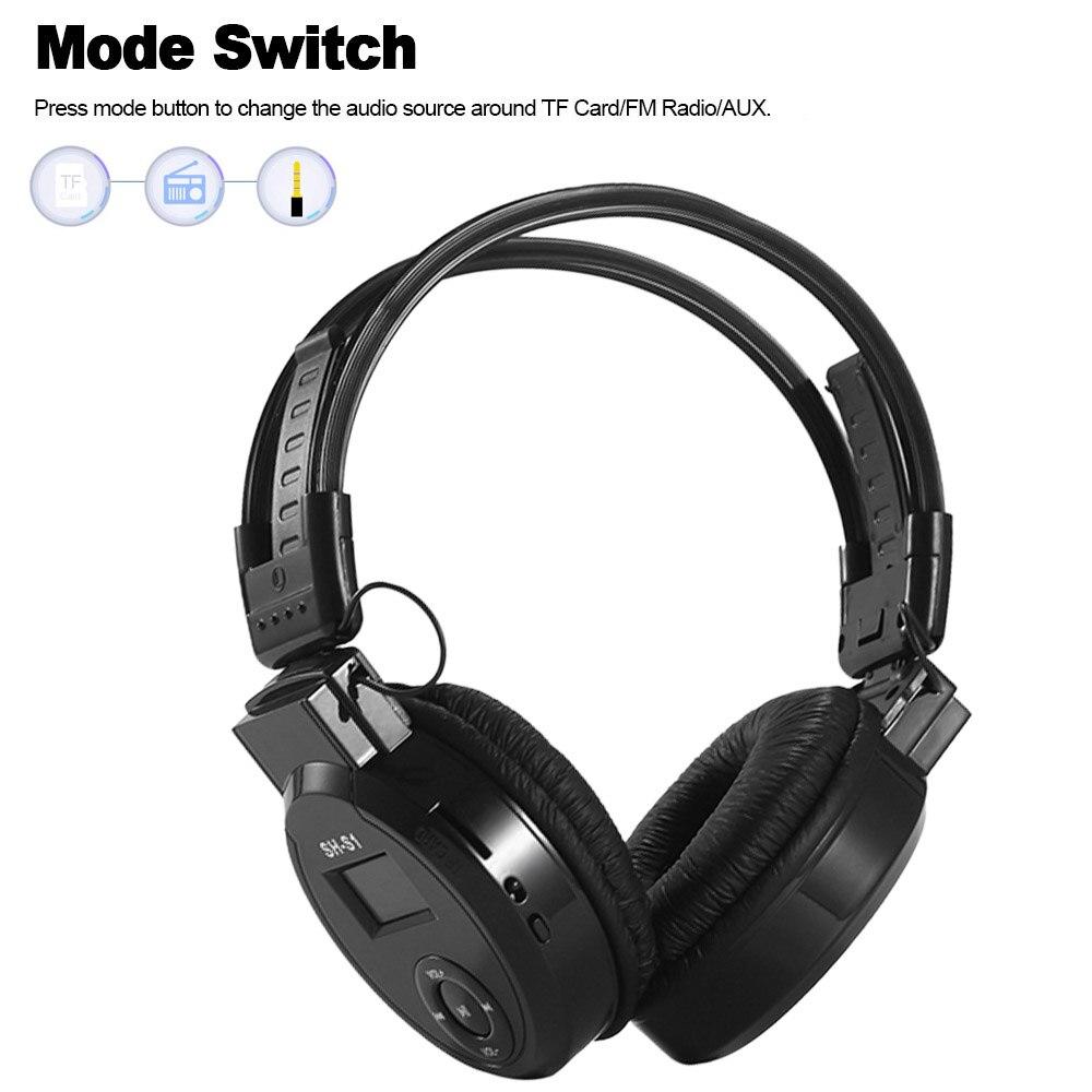 SH-S1 3.5mm Wireless Bluetooth Headphone MP3 Player Foldable Headset Wired Earphone FM Radio TF Card Music Player LCD Screen