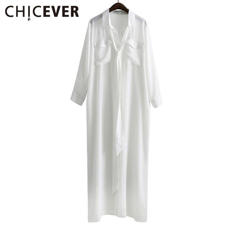 chicever caseros moda camisa larga delgada vestido con el marco de encaje de manga larga