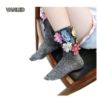 Thailand Tide Flower Sequins Bright Silk Socks Colorful Glitter Socks Women