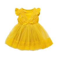 2018 New Baby Girls Dress Casual Summer Toddler Kids Girl Pink Yellow Purple Color Floral Mesh