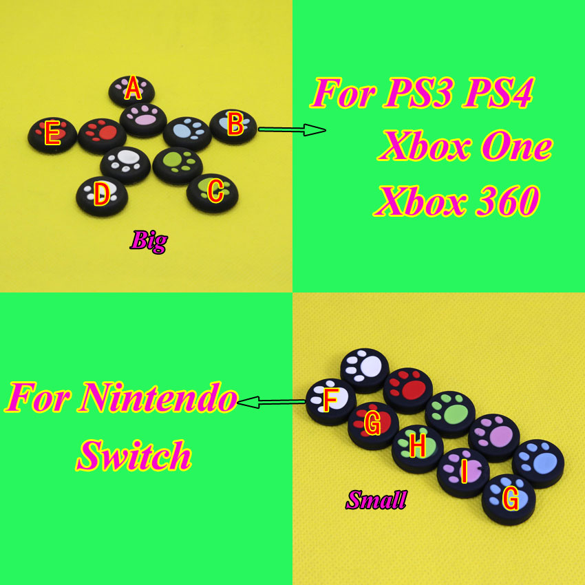 50-100pcs Silicone Cat paw print Analog Joystick Thumb Stick Grips Cap Cover For Nintendo Switch For PS3 PS4 For XBOXONE 360