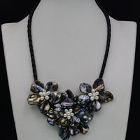 Большинство Popluar белый пресноводный жемчуг черный барокко оболочки ожерелье в виде цветка ожерелье для женщин национальное ожерелье