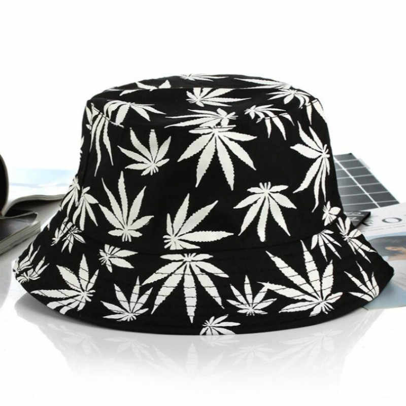 c1a24809 ... printed leaf bucket hat hiphop for women or men casual cotton male flat summer  fishing cap ...
