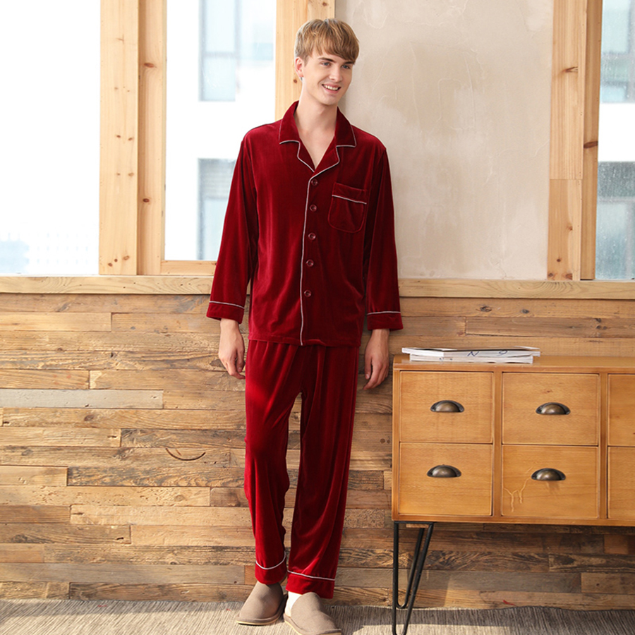 bonne vente acheter réel style exquis US $33.05 42% OFF|Red Velvet Pajamas Men Winter Nightwear Vintage Male  Pajama Sets Elegant Fashiom Sleepwear Korea Casual Warm Pyjama Homme s2-in  ...