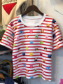 Cartoon Tsum Avatar Printing Stripe Hit Color Wild Was Thin O-Neck Short Sleeve Top Female Summer T-shirts