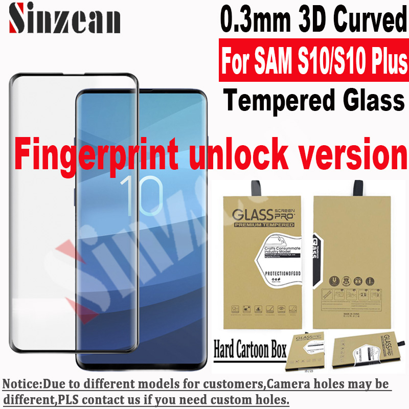 50pcs For Samsung S10 Plus 3D Curved Tempered Glass Screen Protector For Galaxy S10 5G Fingerprint